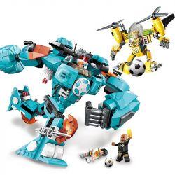 Enlighten 3006 Qman 3006 Xếp hình kiểu Lego TRANSFORMERS Super Soccer Century Football Defense Cuộc đại Chiến Trên Sân Cỏ lắp được 2 mẫu 525 khối
