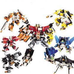 Enlighten 3102 (NOT Lego Transformers Fission Robot ) Xếp hình 6 Người Máy Biến Hình Hợp Thể gồm 6 hộp nhỏ lắp được 7 mẫu 891 khối