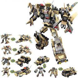Qman Enlighten 3103 (NOT Lego Transformers Sandstorm Major 6 In 1 ) Xếp hình Người Máy Kingkong Chiến Đấu Được Lắp Ráp Bởi Máy Bay Chiến Đấu Tàng Hình, Xe Tăng, Xe Bọc Thép... gồm 6 hộp nhỏ lắp được 1