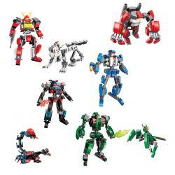 Enlighten 3101 (NOT Lego Transformers Mecha Corps ) Xếp hình 4 Bộ Xếp Hình Gồm 4 Robot Và Sói Tinh Tinh Bọ Cạp Bọ Ngựa gồm 4 hộp nhỏ lắp được 8 mẫu 741 khối