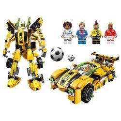 Enlighten 3005 Qman 3005 Xếp hình kiểu Lego TRANSFORMERS Super Soccer Century Football Golden Feet Bumblebee đá Bóng lắp được 2 mẫu 557 khối