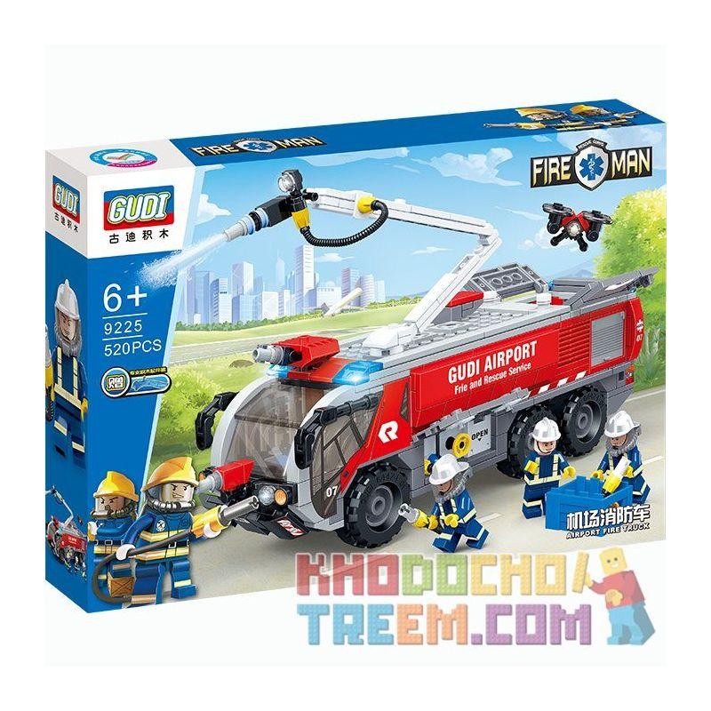 GUDI 9225 Xếp hình kiểu Lego CITY Fireman:Airport Fire Truck Xe cứu hỏa 520 khối