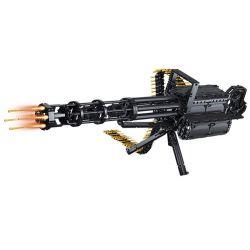 Qizhile 86001 Lego Technic Block Gun Gatling Gun Xếp hình Siêu Súng Máy Động Cơ Pin Sạc 1422 khối