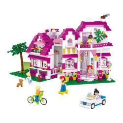 Sluban M38-B0536 (NOT Lego Girl's Dream Villa ) Xếp hình Biệt Thự Màu Hồng 726 khối