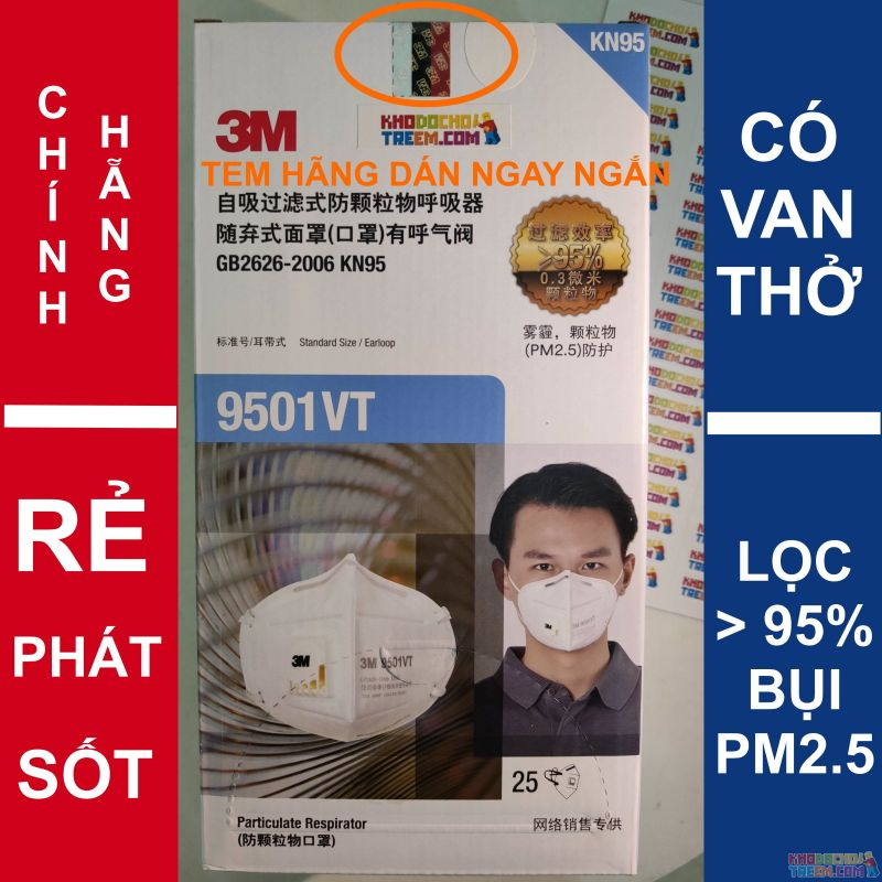 Khẩu trang 3M 9501VT KN95 lọc hơn 95% bụi siêu mịn PM2.5 có van thở, đeo tai, chun tổng hợp, chính hãng tốt hơn 3M 9001V chỉ lọc được 90%