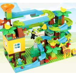 FEELO 1608 Xếp hình kiểu Lego Duplo DUPLO Large Beads Slide On Tree House Ống trượt hạt lớn trên nhà cây 200 khối