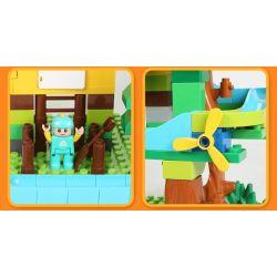 Feelo 1608 Xếp hình kiểu LEGO Duplo Large beads slide on tree house Ống trượt hạt lớn trên nhà cây 200 khối