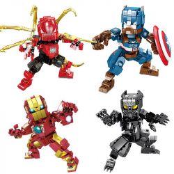 Sheng Yuan 1312 SY1312 (NOT Lego Marvel Super Heroes The Avengers ) Xếp hình Người Nhện. Đội Trưởng Mỹ, Người Sắt, Báo Đen gồm 4 hộp nhỏ lắp được 4 mẫu 1271 khối