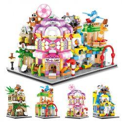 SEMBO 601051 601052 601053 601054 Xếp hình kiểu Lego MINI MODULAR Sembo Block Mini Street View 4 Pine Confection, Candy House, Toy Store, Game Machine Cửa Hàng Cà Phê, đồ Chơi, đồ Chơi điện Tử, Kẹo gồ