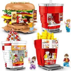 Sembo 601055 601056 601057 601058 (NOT Lego Mini Modular Street View ) Xếp hình Cửa Hàng Khoai Tây Chiên, Hamburger, Coca, Kem. gồm 4 hộp nhỏ lắp được 4 mẫu 998 khối