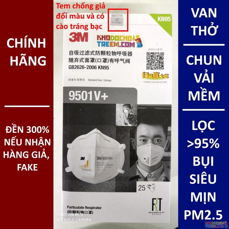 Khẩu trang 3M 9501V+ KN95 lọc hơn 95% bụi siêu mịn PM2.5 có van thở, đeo tai, chun vải mềm hơn 9501VT, chính hãng