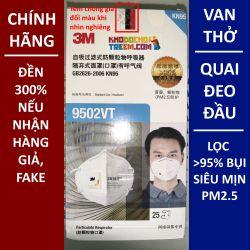 Một cái khẩu trang 3M 9502VT KN95 lọc hơn 95% bụi siêu mịn PM2.5 có van thở, đeo đầu, chun tổng hợp, chính hãng tốt hơn 3M 9002V chỉ lọc được 90%