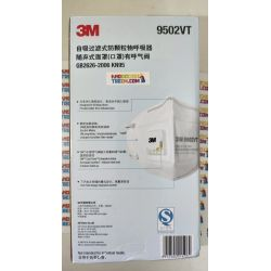 Khẩu trang 3M 9502VT KN95 lọc hơn 95% bụi siêu mịn PM2.5 có van thở, đeo đầu, chun tổng hợp, chính hãng tốt hơn 3M 9002V chỉ lọc được 90%