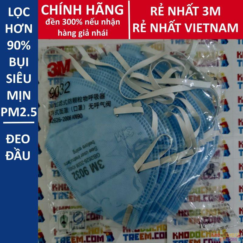 Khẩu trang 3M 9032 KN90 lọc hơn 90% bụi siêu mịn PM2.5 đeo đầu chính hãng mới hơn 3M 9002 toàn đồ giả