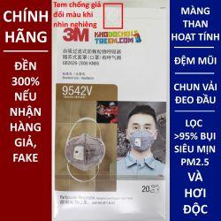 Một cái khẩu trang 3M 9542V KN95 lọc hơn 95% bụi siêu mịn PM2.5 và độc với màng than hoạt tính đệm mũi van thở chun vải mềm đeo đầu chính hãng tốt nhất 3M