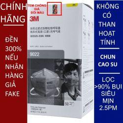Một cái khẩu trang 3M 9022 KN90 lọc hơn 90% bụi siêu mịn PM2.5 chính hãng đeo đầu màu xám không có màng than hoạt tính