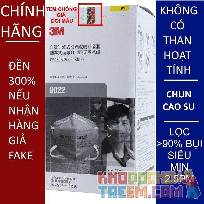 Khẩu trang 3M 9022 KN90 lọc hơn 90% bụi siêu mịn PM2.5 chính hãng đeo đầu màu xám không có màng than hoạt tính giá sốc rẻ nhất