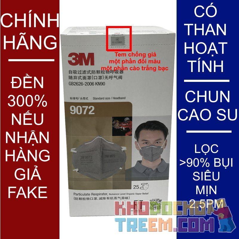 Khẩu trang 3M 9072 KN90 lọc hơn 90% hơi độc bụi siêu mịn PM2.5 có màng than hoạt tính chính hãng mới hơn 3M 9042 toàn đồ giả