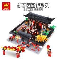 WANGE 5312 Xếp hình kiểu Lego MINI MODULAR Chinese Style Reunion Dinner Bữa tối đoàn tụ kiểu Trung Quốc 1437 khối