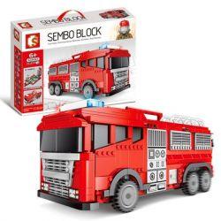 SEMBO 603063 Xếp hình kiểu Lego CITY Red Miniature City Fire Big Truck Xe Cứu Hỏa Thành Phố Thu Nhỏ Màu đỏ 1547 khối