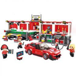 Enlighten 4204 Qman 4204 Xếp hình kiểu Lego MINECITY My City Mobile Racing Center Trạm Pit Trong Trường đua 1095 khối