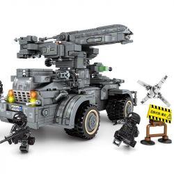 SEMBO 107065 Xếp hình kiểu Lego Shanghai Fortress Self-propelled Artillery Thiết Bị Phòng Thủ Tên Lửa 1112 khối