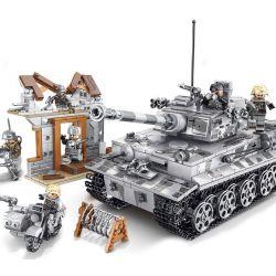 SEMBO 101401 Xếp hình kiểu Lego EMPIRES OF STEEL Steel Empire East Line Raid Tiger Tank Xe Tăng Chiến đấu 1154 khối