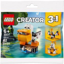 NOT Lego CREATOR 30571 Pelican Creative Three Changes 鹈鹕, Parrot, Rabbit , XINH 5500A Xếp hình Bồ Nông 62 khối