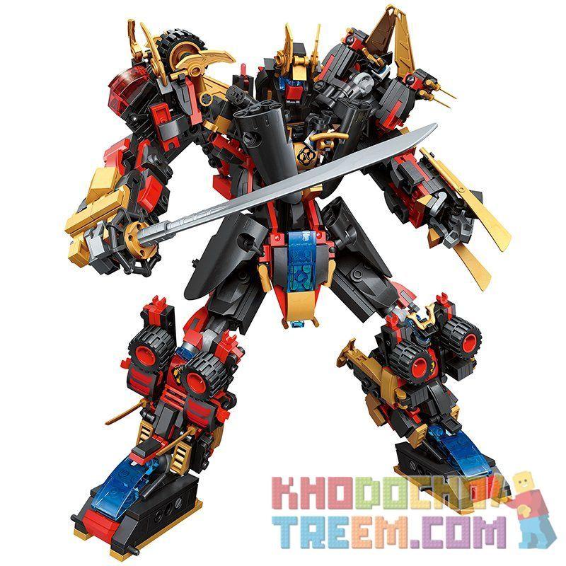 Enlighten Qman 3105 3105-1 3105-2 3105-3 3105-4 3105-5 3105-6 Xếp hình kiểu LEGO Transformers TransCollector người máy biến hình gồm 6 hộp nhỏ lắp được 7 mẫu 908 khối