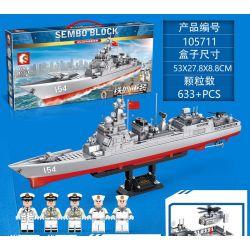 SEMBO 105711 Xếp hình kiểu Lego IRON BLOOD HEAVY EQUIPMENT Iron Plate 052D Missile Destroyer Jagged Tải Lại Nặng Tàu Khu Trục Tên Lửa 052D 633 khối
