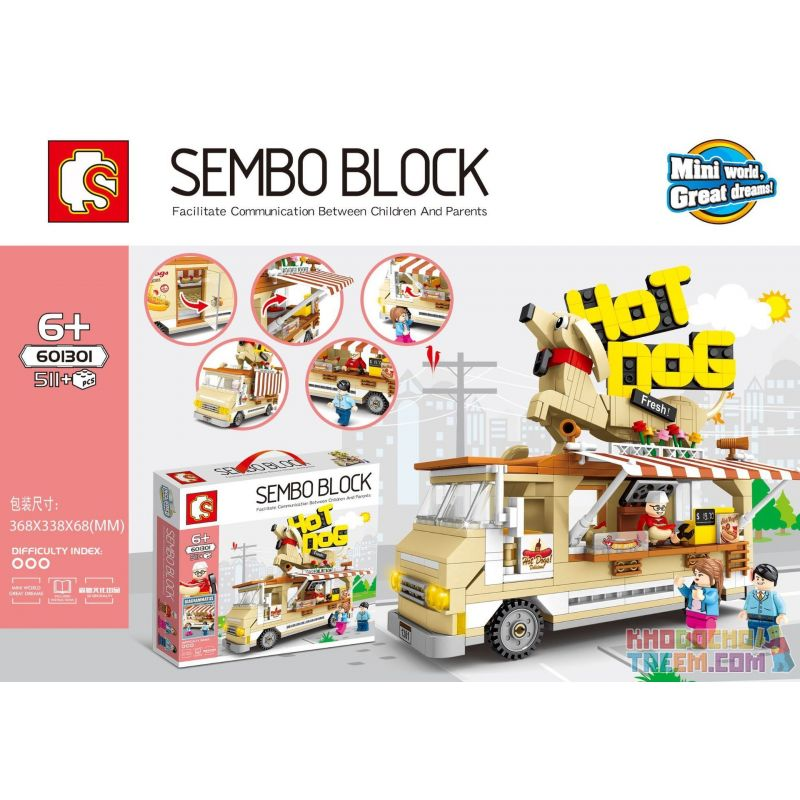 Sembo 601301 Xếp hình kiểu LEGO City Sembo Block Chế độ xem phố Senbao: Xe xúc xích 511 khối