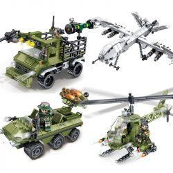 SEMBO 105475 105476 105477 105478 Xếp hình kiểu Lego IRON BLOOD HEAVY EQUIPMENT Iron Plate Fighting Group 4 Biệt đội Không Chiến gồm 4 hộp nhỏ lắp được 4 mẫu 885 khối