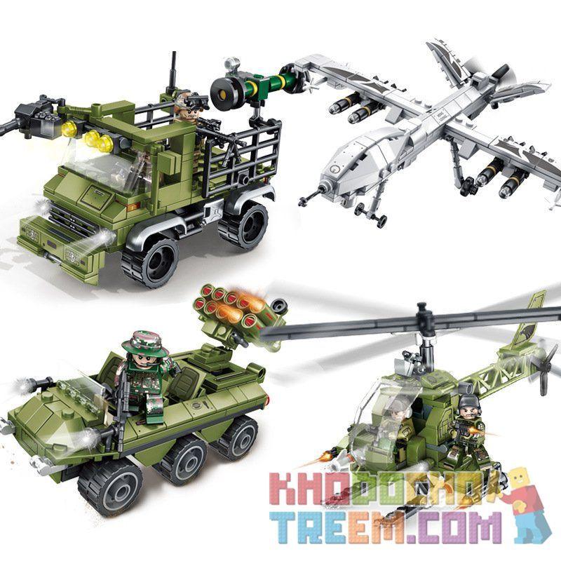 SEMBO 105475 105476 105477 105478 Xếp hình kiểu Lego IRON BLOOD HEAVY EQUIPMENT Iron Blood Heavy Equipment biệt đội không chiến gồm 4 hộp nhỏ lắp được 4 mẫu 885 khối