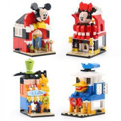 Sheng Yuan 6800 SY6800 (NOT Lego Mickey Mouse Disney's Street View ) Xếp hình Cửa Hàng Mickey, Minnie, Vịt Donald gồm 4 hộp nhỏ lắp được 4 mẫu 876 khối