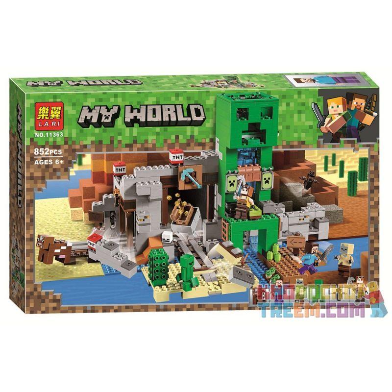 NOT Lego MINECRAFT 21155 The Creeper Mine, LARI 11363 SX 1035 Xếp hình Mỏ cây leo 834 khối