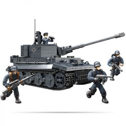 XIANG JUN XJ-922 Xếp hình kiểu Lego MILITARY ARMY PZKPFW VI Tiger Heavy Tank German Tiger Heavy Tank Xe Tăng Chiến đấu đen 1201 khối