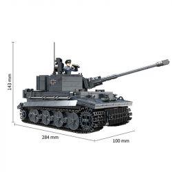 XIANG JUN XJ-922 Xếp hình kiểu Lego MILITARY ARMY PZKPFW VI Tiger Heavy Tank xe tăng chiến đấu đen 1201 khối