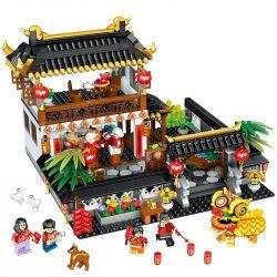ZHEGAO QL0957 0957 Xếp hình kiểu Lego SEASONAL Heppy New Year New Year's Reunion Tết Nguyên đán Trung Quốc 1187 khối