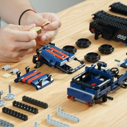 IHONEYCOMB 1812 Xếp hình kiểu Lego Technic TECHNIC Knight Truck Xe bánh xích lập trình 513 khối điều khiển từ xa bằng điện thoại