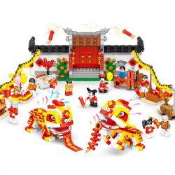 SHENG YUAN SY SY1478 1478 Xếp hình kiểu Lego CREATOR Lion Dance múa sư tử 1082 khối
