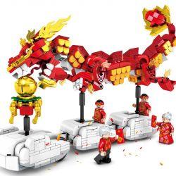 SEMBO 201015 Xếp hình kiểu Lego SEASONAL New Year Dance Dragon New Year Special Edition Phiên Bản đặc Biệt Năm Mới 726 khối