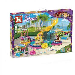 NOT Lego FRIENDS 41374 Andrea's Pool Party Good Friend Andria's Pool Party , SX 3027 Xếp hình Tiệc Bể Bơi Của Andrea 468 khối