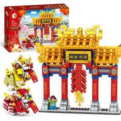 SEMBO 201020 Xếp hình kiểu Lego SEASONAL múa lân năm mới 1118 khối