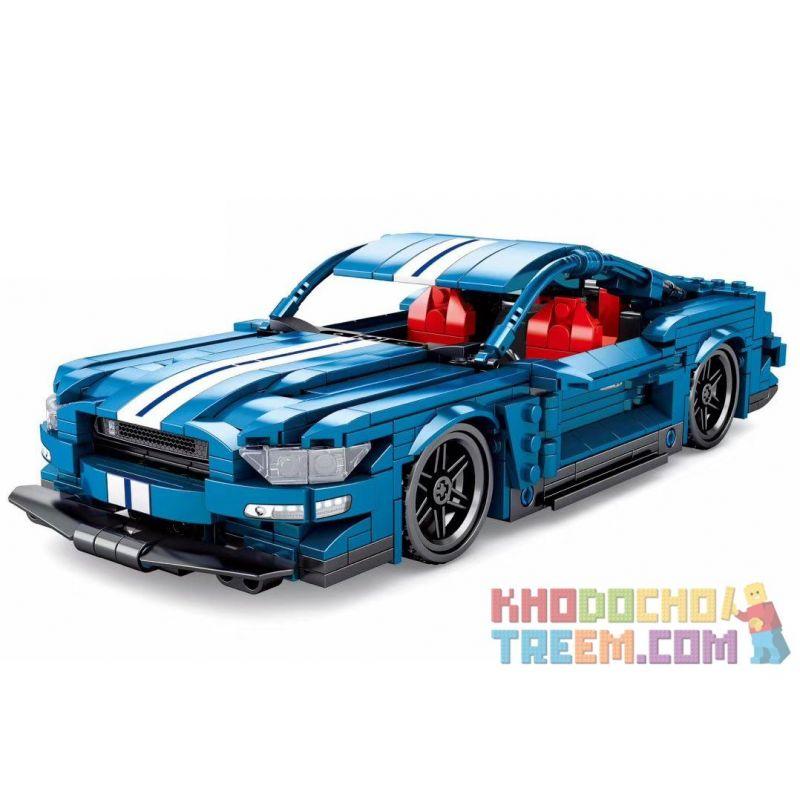 Sembo 701710 Xếp hình kiểu LEGO Speed Champions Ford Mustang Ford Mustang Pullback 737 khối