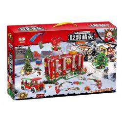 LEDUO 78061 Xếp hình kiểu Lego PUBG BATTLEGROUNDS Eat Chicken Elite Eating Chicken Elf Christmas Hotel Trận Chiến Sinh Tồn 1037 khối