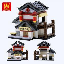 WANGE 2315 2316 2317 2318 2319 2320 Xếp hình kiểu Lego MINI MODULAR cửa hàng bán trà, vải, rượu, nhà trọ gồm 4 hộp nhỏ 1025 khối