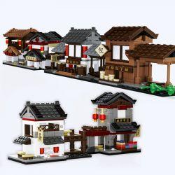 Wange 2315 2316 2317 2318 2319 2320 (NOT Lego Mini Modular Chinese Street View ) Xếp hình Cửa Hàng Bán Trà, Vải, Rượu, Nhà Trọ gồm 6 hộp nhỏ 1025 khối
