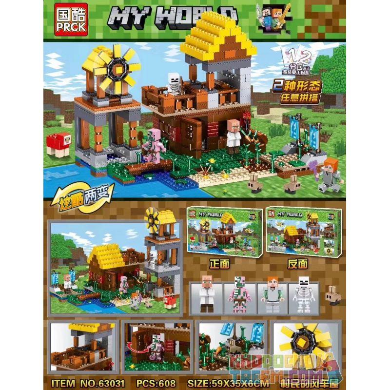 63031 (NOT Lego Technic My World ) Xếp hình Minecraft: Nhà Cối Xay Gió Cho Dân Làng 608 khối