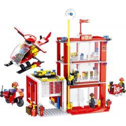 ZHEGAO QL0221 0221 Xếp hình kiểu Lego CITY HERO Fire Eagle Fire Safety Building Fire Eagle Tòa Nhà An Toàn Phòng Cháy 558 khối
