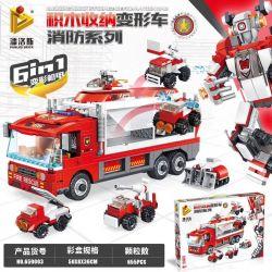 Panlosbrick 659003 (NOT Lego Technic Blinding Block Storage Deformation Car ) Xếp hình Máy Biến Áp Khối Xây Dựng: Fire Series 6In1 Mecha Biến Dạng 655 khối